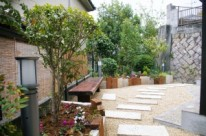 枕木や板石を使ったリフォームガーデン 広島市 O邸