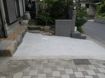 自然石を使った環境に優しいリフォームガレージ 廿日市市 Y邸